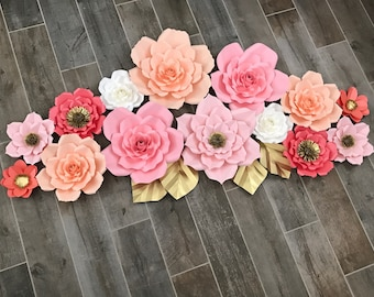 Paper flowers Pink, salmon, coral, white and gold accents set if 14