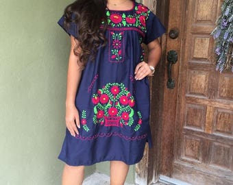 Mexican Dress, Puebla Mini Dress