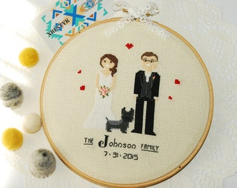 Personalized portrait Custom wedding portrait  Family portrait Wedding anniversary gift for her Unique Cotton anniversary gift Fiber art