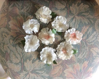Vintage Millinery Flowers Lot, 8 Flowers, Velvet, Chiffon, Pearly White Stamens, Used