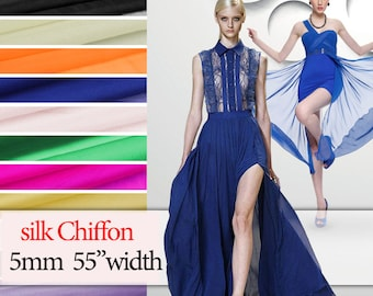 "5mm 55"" width 100% Mulberry silk chiffon by half meter DF976"