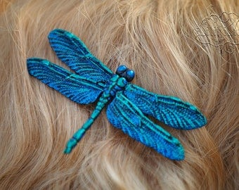 Dragonfly Hair Clip in blue/green 11x6, 5 cm