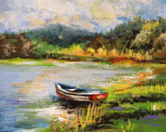 Landscape painting, The boat on the lake, original acrylic painting, small painting