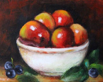 Original still life with apples and grapes, fruit painting, apples painting