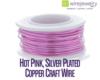 Hot Pink, Silver Plated Copper Craft Wire, Round, Various Gauges and Lengths
