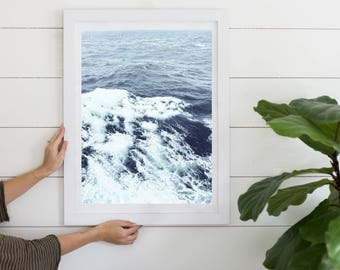 Beach Ocean Wave Digital Download Photography Print, Instant Download, Wall Art, Printable Art, Framed Art Download, Beachy, Blue Waves