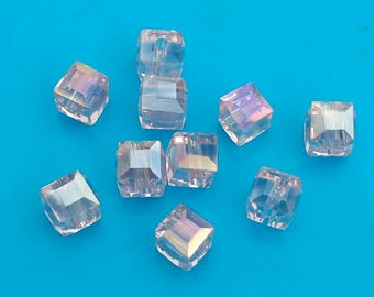 10x Crystal Beads 6mm pink ab Austrian Faceted glass Cubes Jewellery Making diy Jewelry Earrings Bracelet czech Necklace Craft supplies UK