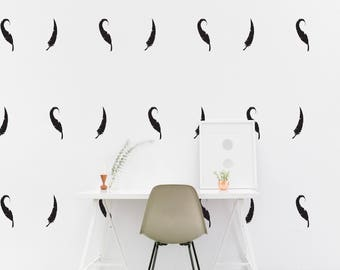 Feather wall Decal Kids room Feather Wall Sticker, Kids Bedroom Pattern Wallpaper Vinyl Wall Decals, Nursery Wall Stickers Home Decor