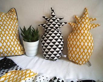 """Pineapple"" graphic choice, mustard yellow ikat diamonds or black triangles cushion"
