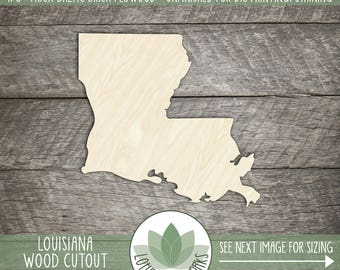 Louisiana State Wood Cut Shape Shape, Unfinished Wood Louisiana Laser Cut Shape, DIY Craft Supply, Many Size Options