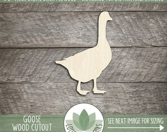 Wood Duck Goose Shape, Unfinished Wood Duck Goose Laser Cut Shape, DIY Craft Supply, Many Size Options