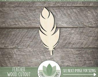 Wood Feather Shape, Unfinished Wood Feather Laser Cut Shape, DIY Craft Supply, Many Size Options