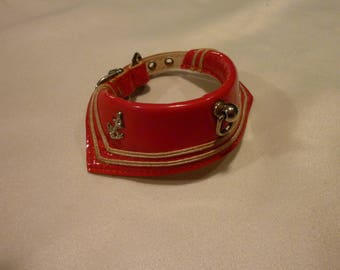 Vintage Dog Collar - Faux Red Patton Leather Pet Collar - Sailor Collar~ Nautical Design  - A little Treat for Your Four Legged Friend