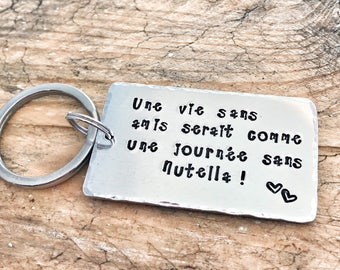 Hand Stamped Personalised French Best Friend Keyring, Meilleure Amie, Nutella Keychain