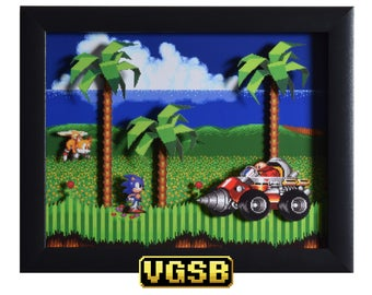 Sonic the Hedgehog 2 Shadowbox - Emerald Hill Zone - SEGA - Sega Genesis - 3D Shadow Box Glass Frame - 12x10 - Birthday Gift - Game Art