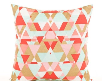 SALE ENDS SOON Pink, Gold, and Mint Geometric Throw Pillow Cover, Metallic Gold Geometric Print, Pink and Gold Pillows, Gold Nursery Pillow,