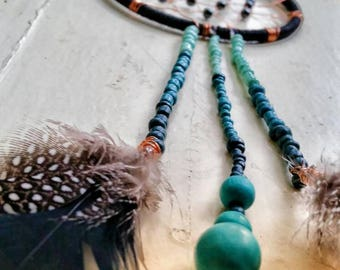 Handwoven Black and Rose Gold Dreamcatcher with Cascading Turquoise Ombre Beads