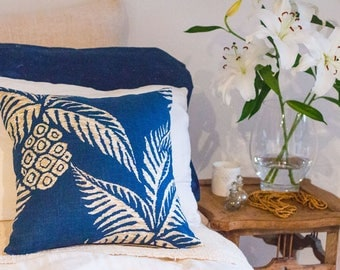 SALE Relaxed Pineapple Blue Linen Cushion in Navy 45 x 45 cm square