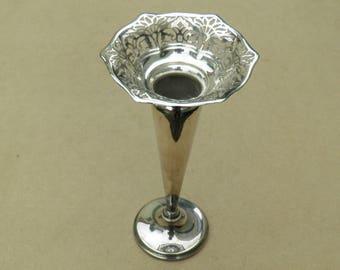 Vase - Silver Plated/EPNS - Beautiful Pierced Design - Vintage Silverplate