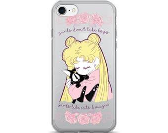 Girls don't like boys,Girls like cats,iPhone Case,Usagi Tsukino,Sailor Moon,Magical Girl,Mahou Shoujo,Anime, Kawaii,Cute Phone Case