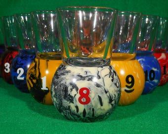 Marble Style Pool Ball Shot Glasses Full Set