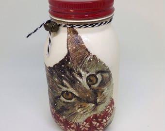 Christmas Cat, Mason Jar money bank, savings jar, piggy bank, Shabby chic, vintage,