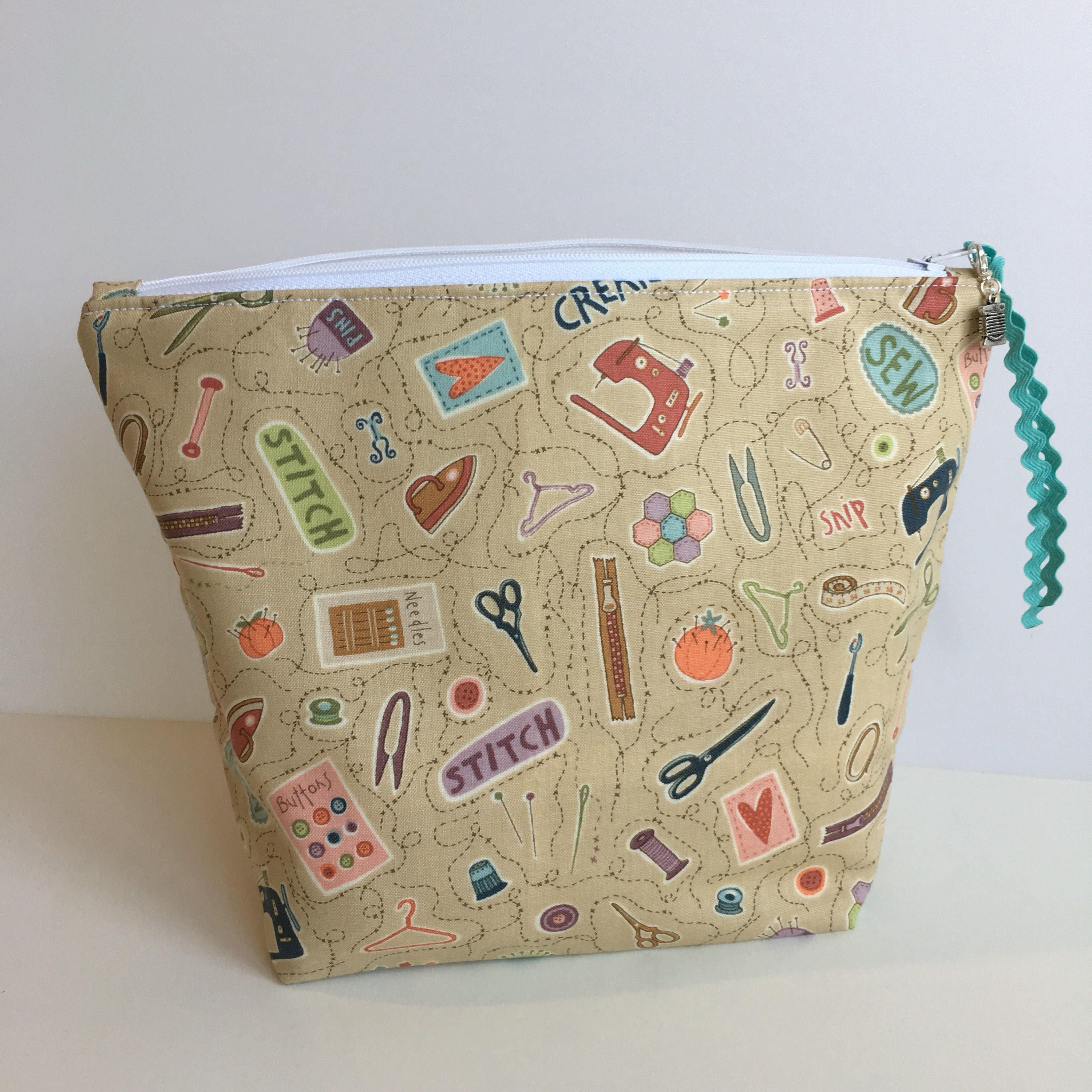 Knitting Project Bags To Sew : Small sewing theme knitting project bag