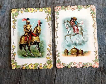 Victorian Trade Cards |  Newby & Evans Piano at Rocholl and Co. Philadelphia PA |  Horse Knight Children Flowers