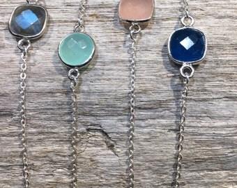Bracelet sterling silver and semi precious stone