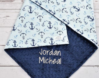 Personalized Minky Blanket - Anchor Minky Sailboat Baby Blanket - Anchor Blanket -Nautical Minky Blanket- Boy blanket sailboat blanket