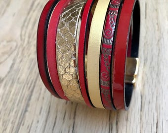 Cuff Bracelet Ristmik-red and gold genuine leather straps - unique