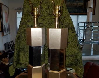 Brushed Metal Lamps - Pair