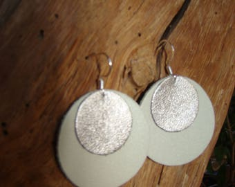 Leather earrings pastel green and silver