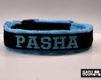 Soft Personalized Minky Dog Collars / with text / name of the pet / customized