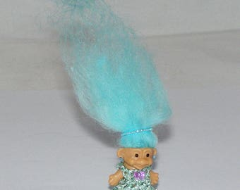 "1"" Unbranded Troll Doll, New Lt. Blue Icelandic Sheepskin Hair, Dress, Jewelry"