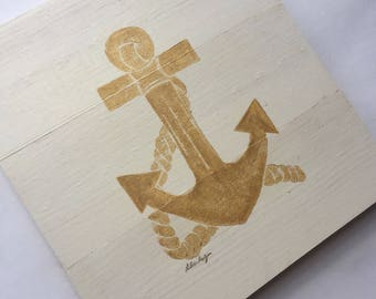 9x10 Nautical Anchor (white stain/gold paint)