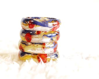 Real Colorful Flower Ring, Resin Ring, Resin Jewelry, Nature Ring, Flower Jewelry, Flower Ring, Fairy Ring, Pressed Flower Jewelry, Multicol