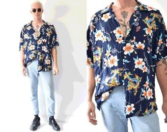 Oriental Dragon Floral Hawaiian Summer Short Sleeve Button Up Shirt