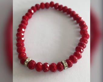 Elastische armband Ella donker rood