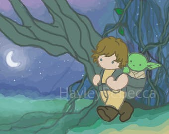 Star Wars Luke and Yoda-Art for Nurseries & Children's Rooms-Ask About Commissions