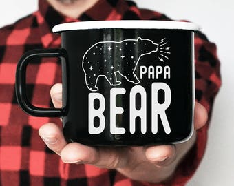Papa Bear Christmas Gift Enamel Mug Coffee Mug Camping Mug Christmas Mug Camp Mug Travel Mug Unique Gift Gift for Husband Gift for Him