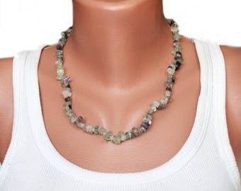 Fluorite beaded necklace gemstone chip bead necklace Fluorite jewelry Rainbow Fluorite Necklace fluorite mineral eco jewellery gift