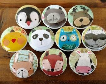 """Set 10,  12, or 13 Woodland Forest Animals Wood Knob - Nursery Room, Baby Room, Kids Room, Dresser Knob, Size 1.5 (1 1/2"""")"""