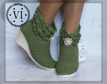 Ankle Boots Summer crochet boots Hand knitted for adult Made to Order  Crocheted Summer Boots Women Fashion Boots Boho style women's heels