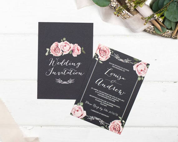 Rustic Chalkboard Wedding Invitation and Rsvp Postcard Set