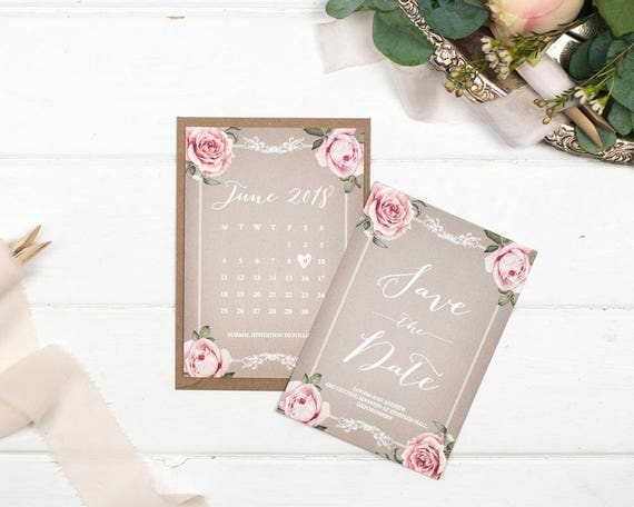 Vintage Save The Date Card - A6 Grey Floral Framed