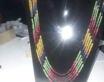 Multi sapphire 5 strand beaded necklace ready to wear