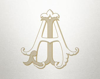 Wedding Monogram Design- AJ JA - Wedding Monogram - Digital