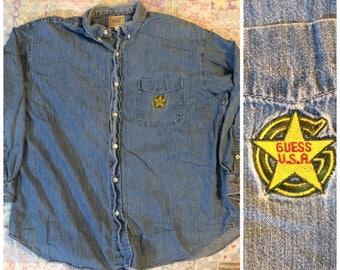 Guess U.S.A. Vintage Denim button-Up Shirt Large 90s
