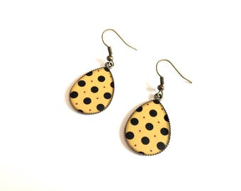 Earrings drop yellow with black dots - Bronze